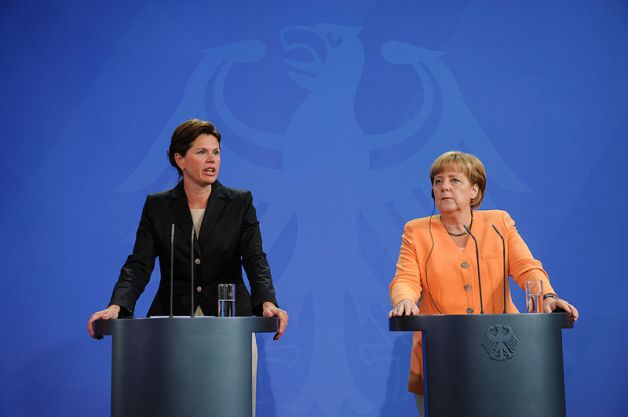 Alenka Bratusek and Angela Merkel