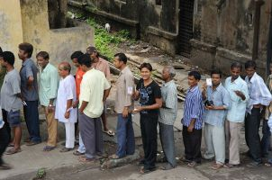 Queues of Indian Voters; Source; Al Jazeera English via Wikipedia